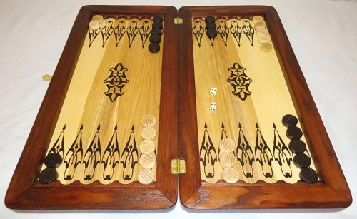 21-Big-Backgammon-Set-Turtle-Leather-Skin-Board-Game-Natural-Wood-Pieces-Dices-0-3