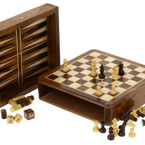 Backgammon-Set-Wood-Dice-Chess-Pieces-Board-Two-In-One-Game-0-0