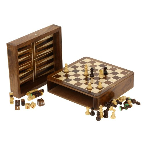 Backgammon-Set-Wood-Dice-Chess-Pieces-Board-Two-In-One-Game-0