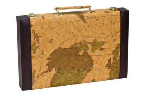 CHH-Imports-15-Inch-Backgammon-Set-In-Brown-Vinyl-Map-Design-Case-0