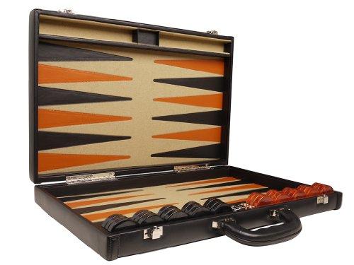 Professional-Leather-Backgammon-Set-21-BlackBeige-Board-0-3
